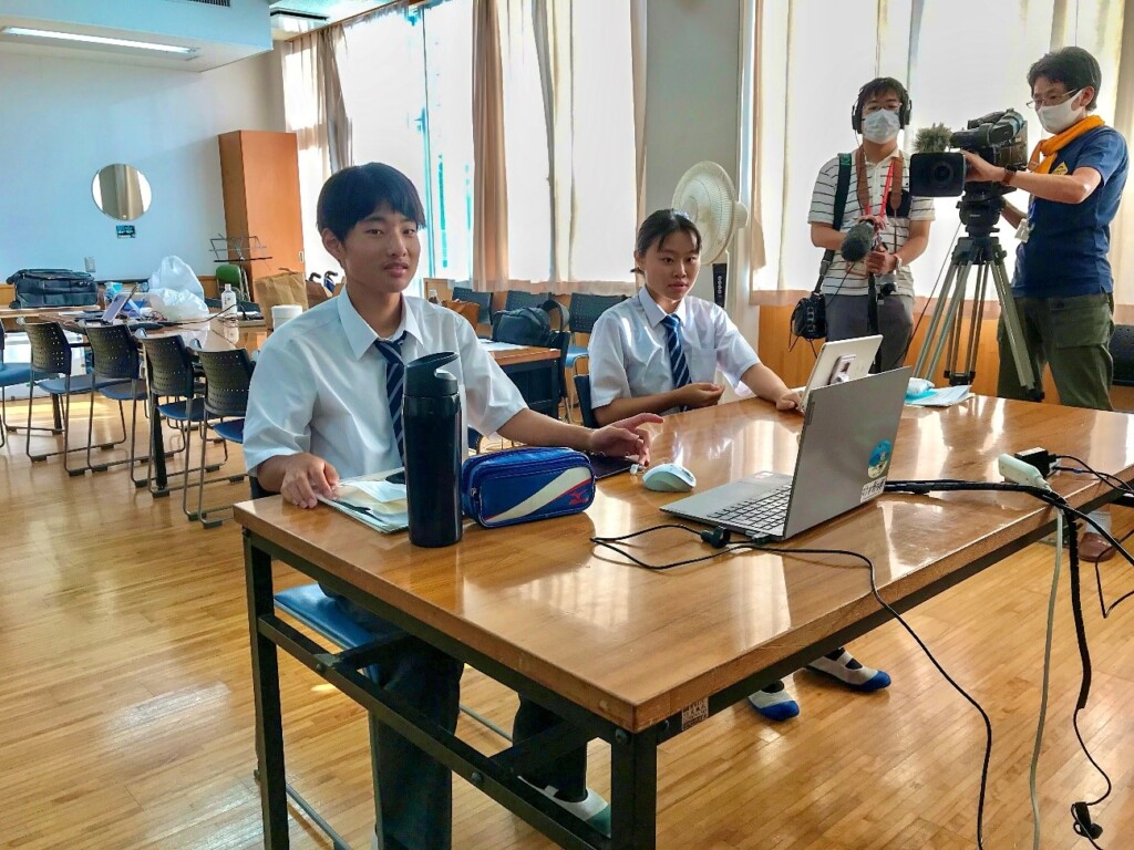 Photo of a video conference during a cable TV interview